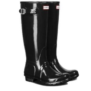 Tall glossy Hunter rain boots